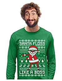 Santa Floss Like a Boss Flossing Ugly Christmas Sweater Long Sleeve T-Shirt