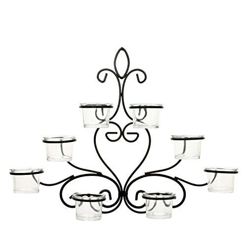 Hosley Scrolled Wall Angel Art Sconce 13.6 Inch Length 8 Votive LED Tealight Cup Holder Includes Glass Cups Mid Century Modern Wall Decor Ideal Gift for Weddings Party Spa Home O8 (Votive Wall)