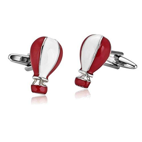 Aooaz Mens Stainless Steel Cufflinks Red White Hot Air Balloon Cute Fire Shirt Wedding 1.5X2.1Cm Gift Box ()