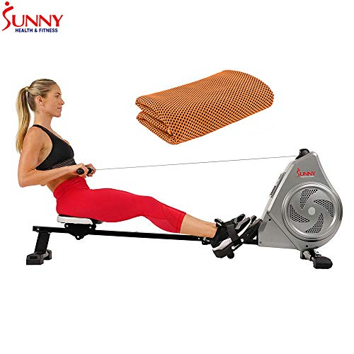 Sunny Health and Fitness Air Magnetic Rowing Machine Rower, LCD Monitor with Tablet Holder (SF-RW5728) with Workout Cooling Towel