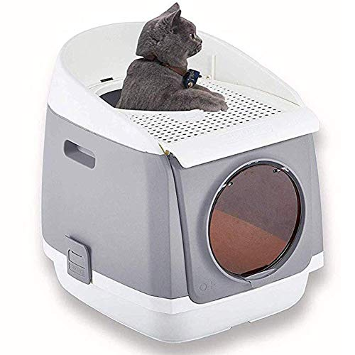 Cat Litter Box Furniture, Cat Space Capsule, Foldable, Closed Cat Toilet, Automatic Odor Removal Cat Home Nightstand, Double Door Cat Litter Box,Gray