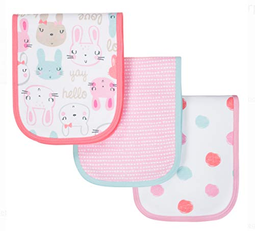 Gerber Newborn Baby Girl Organic Cotton Assorted Terry Lined Burp Cloths, 3-Pack (Gerber Terry Burp Cloth)