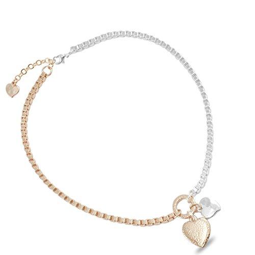 Danon Boîte: Chunky Bijoux Chaîne avec cœurs en argent et or rose