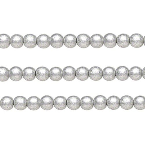 Wood Round Beads Silver 12mm 16 Inch Strand