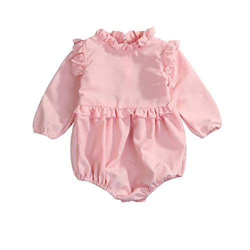 YOUNGER TREE Toddler Baby Summer Clothes Girl Ruffled Collar Sleeveless Romper Jumpsuit Clothes (Pink#Long Sleeve, 70(0-6 -