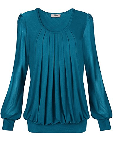 (Timeson Tunic Tops for Leggings for Women, Women's Long Sleeve Tunic Blouses Scoop Neck Pleated Front Fitted Blouse Shirt for Office Work (Medium, Deep Cyan))