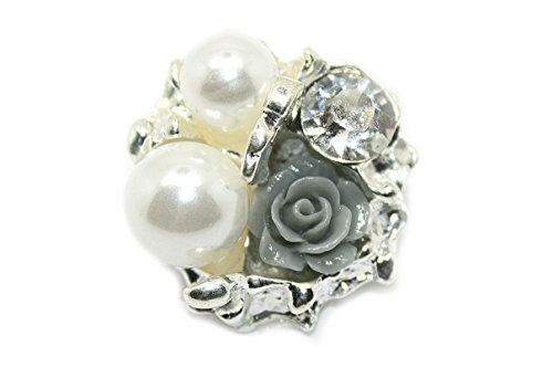 JLIKA Vintage Rose Rhinestone Embellishments (10 Pieces) Flatback No Shank Rhinestone Buttons (Vintage Rose Button)