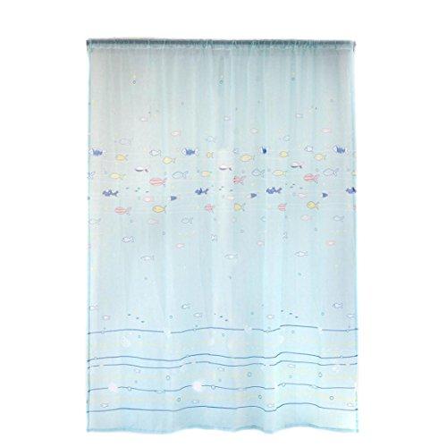 Exteren 1 PCS Fish Color Silk Door Window Curtain Drape Panel Sheer Scarf Valances (B)