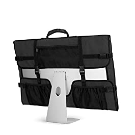 CURMIO Travel Carrying Bag for Apple 21.5″ iMac Desktop Computer, Protective Storage Case Monitor Dust Cover with Rubber Handle for 21.5″ iMac Screen and Accessories, Black, Patent Design.