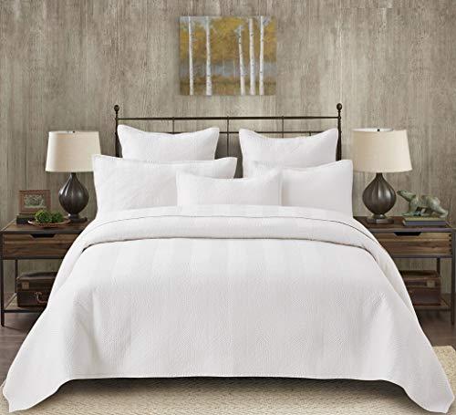 Calla Angel Evelyn Stitch Chevron Luxury Pure Cotton Quilt, Ivory, Queen