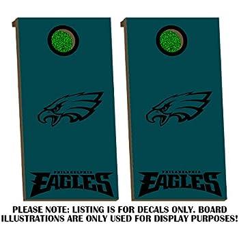 Amazon.com: Philadelphia Eagles Cornhole Board Decals - BLACK - Fit ...