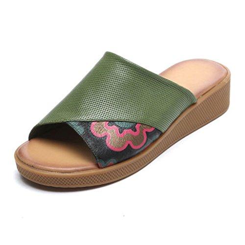 La Zapatos Arrastramiento D De Genuino Arena Suave Cuero Color 36 Fondo Mujer B Desgaste Moda Fondo Fuera De Femenina De Zapatilla Grueso o Tama YUBIN 4xqaXX