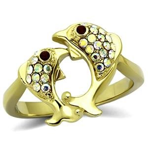 Mail Jewelry Gold Tone Pisces 2 Dolphin Stainless Steel Crystal Fish Ring (Tone Dolphins Ring Gold)