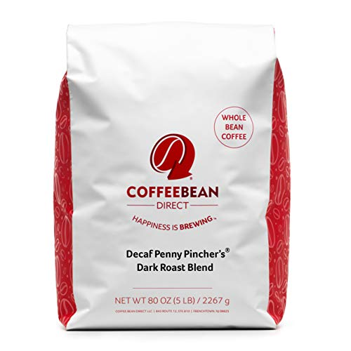 Coffee Bean Direct Decaf Penny Pincher's Dark Roast Blend, Whole Bean Coffee, 5-Pound Bag
