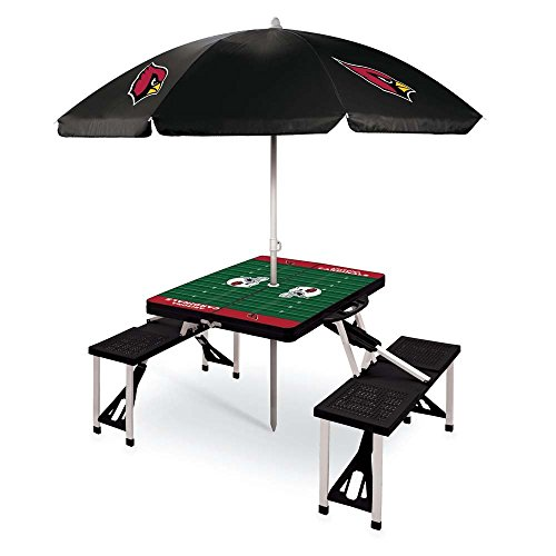 NFL Arizona Cardinals Picnic Table Sport with Umbrella Digital Print, One Size, Black by PICNIC TIME