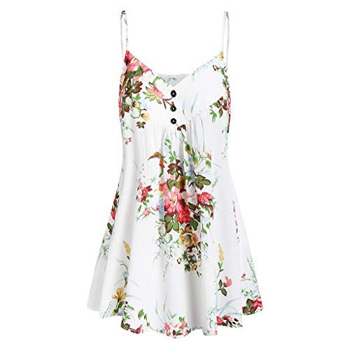 GREFER Casual Floral Printed Sleeveless T-Shirt Tunics Camis Tank Tops Flowy Blouses with Button White