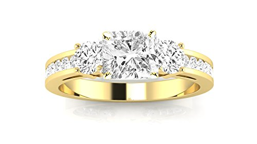 14K Yellow Gold 1.19 CTW Channel Set 3 Three Stone Diamond Engagement Ring w/ 0.59 Ct GIA Certified Cushion Cut I Color VVS1 Clarity - Round Stone 40 3 Ring
