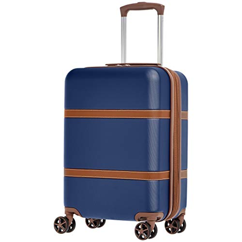 AmazonBasics Vienna Expandable Carry-On Luggage Spinner Suitcase - 20 Inch, Blue ()