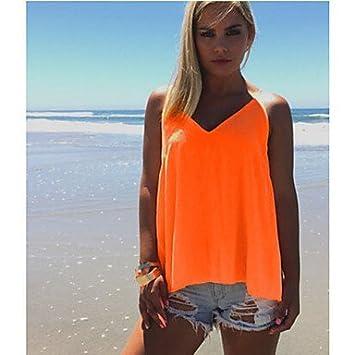 Mujer Camisas y blusas camiseta de color naranja para Mujer, Sin Mangas, Cuello en