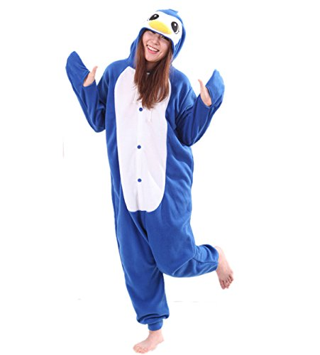 [Adult Blue Penguin Onesie Costume for Women Men Kigurumi Pajamas Animal Cosplay Partywear M] (Animal Costumes Coupon Code)