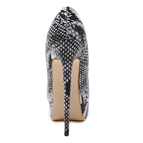 serpiente Piel con ZHZNVX zapatos boca de de skin con noche de está alta zapatos súper bien luz de Snake mujer pescado E4Ar4q
