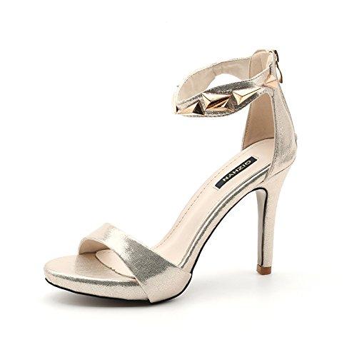 De Décoratif Talon Sandales Couleur Heels En SHOESHAOGE Boucle Talon High unie Un Féminin Mot D'Été Métal Chaussures OSnExfp