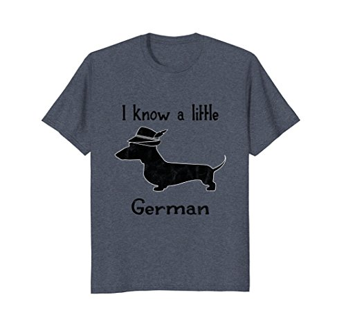Mens I Know A Little German Funny Dachshund Shirt Medium Heather Blue