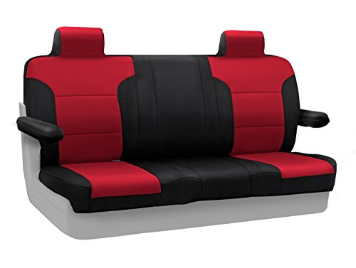 Coverking Custom Fit Rear Solid Bench Seat Cover for Select Lincoln Town Car Models - Neosupreme (Red with Black Sides) ()
