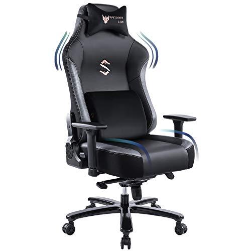 FANTASYLAB-Big-and-Tall-400lb-Massage-Memory-Foam-Gaming-Chair-Adjustable-Tilt-Back-Angle-and-3D-Arms-High-Back-Leather-Racing-Executive-Computer-Desk-Office-Chair-Metal-Base-GreyBlack