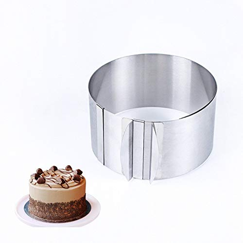 Stainless Steel Round Circle Cookie Fondant Cake Mold Cutter Pastry Tool Safe Cake Mould Adjustable Baking Cake Decorating Tool ()
