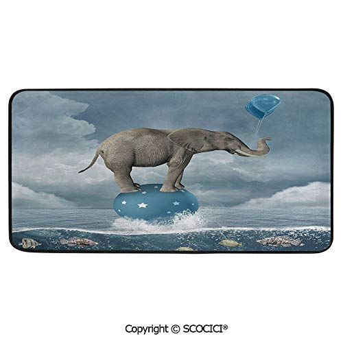 Rectangular Area Rug Super Soft Living Room Bedroom Carpet Rectangle Mat, Black Edging, Washable,Quirky Decor,Elephant with Balloons on Sea Fish Fantasy Circus Animal,39