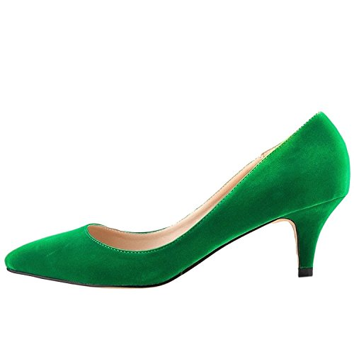 Merumote Scarpe Con Tacco Donna Scarpe Con Tacco Medio Sottile Per Il Solito Abbigliamento Quotidiano In Pelle Scamosciata Verde