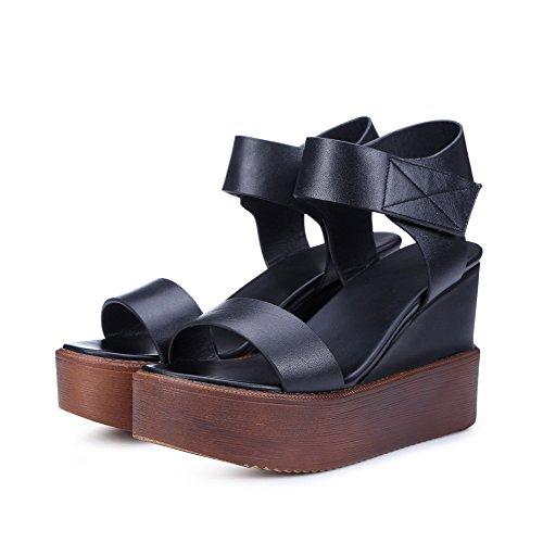 AgooLar Mujeres Velcro Cuero de Vaca Puntera Abierta Plataforma Sólido Sandalia Negro