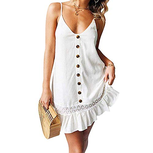 ▶HebeTop◄Womens Summer Beach Button Front Sleeveless Adjustable Spaghetti Strap Casual Mini Short Dress Sundress White ()