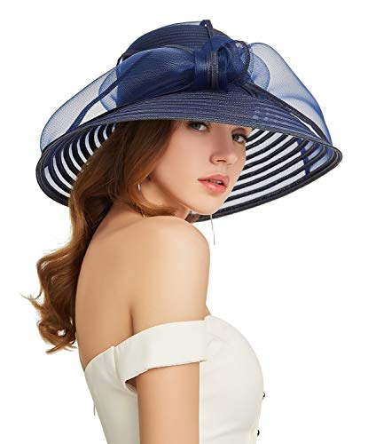ORIDOOR Women Kentucky Derby Church Dress Cloche Hat Bowknot Wedding Bucket Bowler Sun Hat Navy Blue