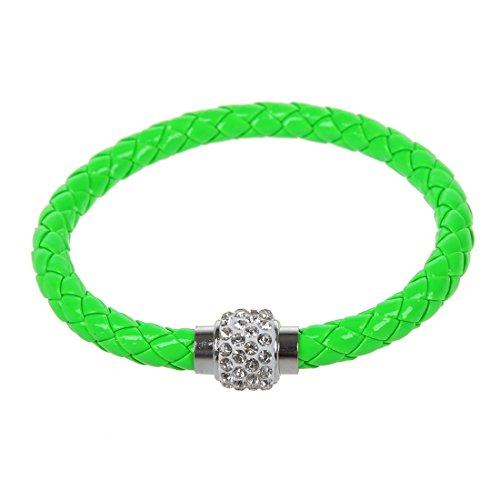 Bracelet de boucle magnetique strass - SODIAL(R)Bracelet manchette Punk de boucle magnetique Bracelet enveloppe vert clair