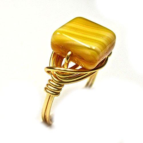 Lovely Czech Glass Honey Topaz Artisan Gold Tone Wire Wrap Ring All Sizes