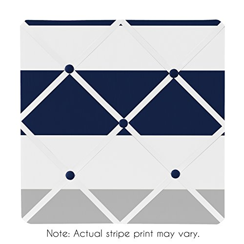 Sweet Jojo Designs Navy Blue, Gray and White Fabric Memory/Memo Photo Bulletin Board for Stripe Collection