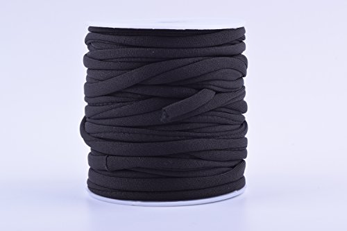 KONMAY 1 Roll 20 Meters 5.0mm Flat Skinny Elastic Cord Stitched Stretchy Lycra Cord (Black)