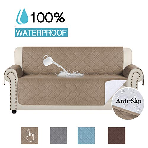 (100% Waterproof Furniture Protector Couch Slip Cover Throw for Pets, Kids, Cats Soft and Machine Washable Quilted Sofa Protector Stay in Place, 75 inch X 112 inch Sofa-Taupe)