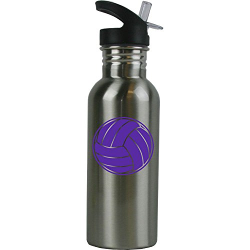 (Personalized Custom Volleyball Stainless Steel Water Bottle with Straw Top Lid 20 Ounce Water Bottle Customizable (Purple))