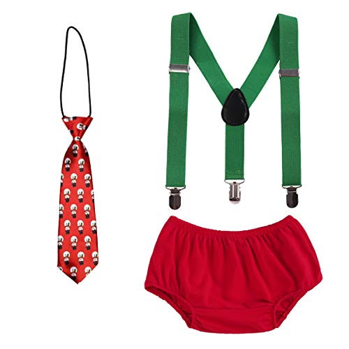 (Baby Boys Cake Smash Outfits First Christmas Birthday Fancy Costumes Neck Tie Bowtie Adjustable Elastic Clip Y Back Suspenders Bloomers Pants Headband Clothes set Snowman Xmas Outfits)