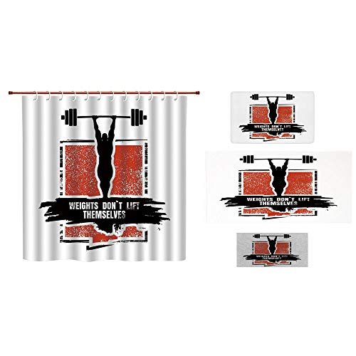 Lis Barbell De Fleur (iPrint Bathroom 4 Piece Set Shower Curtain Floor mat Bath Towel 3D Print,Barbell Silhouettes Icon of Posing Athlete Weights,Fashion Personality Customization adds Color to Your Bathroom.)