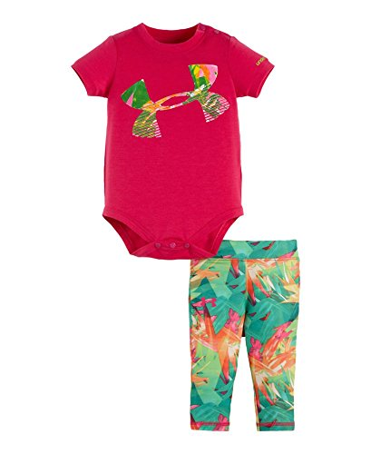 Under Armour Baby-Girls Newborn Jungle Jive Capri Set, Tropic Pink, 6-9 Months