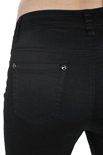 ICE (1478-1) Jeans Pantalones aptos de Chinos extensibles brillantes de las mujeres negras del tamaño extra grande