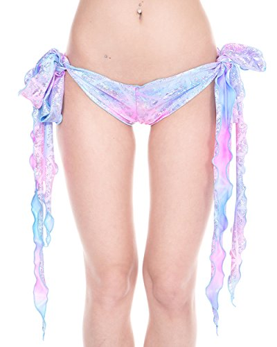 iHeartRaves Disco Party Ribbon Tie Rave Booty Shorts (Cotton Kandi), One size fits most (Ribbon Tie Shorts)