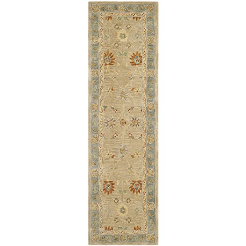 Safavieh Anatolia Collection AN561A Handmade Traditional Oriental Taupe and Grey Wool Runner (2'3
