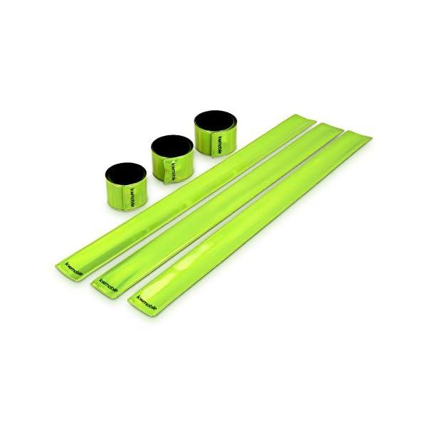 kwmobile Set de 6 Cintas Reflectantes - Banda Reflectante neón de Alta Visibilidad para Actividades Deportivas - Tiras Fluorescentes 34 x 3CM EN13356 1