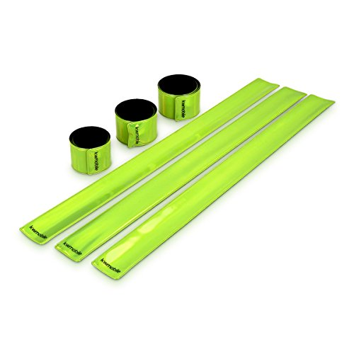 kwmobile 6 Pack Reflector Snap Bands - 34 x 3cm High Visibility Safety Bands for Arm Ankle Wrist - Neon Yellow Reflective Luminous Strips ()