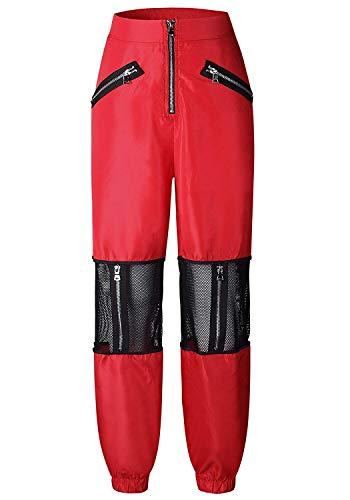 Sportivi Tempo Elegante Pantaloni Filato Estivi Rossi Damigella Pantaloni Netto Prospettiva Con Stoffa Fashion Cerniera Pants Pantaloni Libero Di Ragazze Lunga Pantalone Donna Pantaloni Tuta Cucitura qqIH7